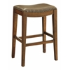 "Metro 29"" Saddle Stool with Nail Head Accents and Espresso Finish Legs with Molasses Bonded Leather"