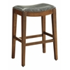"Metro 29"" Saddle Stool with Nail Head Accents and Espresso Finish Legs with Pewter Bonded Leather"