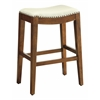 "Metro 29"" Saddle Stool with Nail Head Accents and Espresso Finish Legs with Cream Bonded Leather"