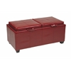 Storage Ottoman in Red with Dual Trays & Seat Cushions