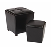 Office Star 2-Piece Black Bonded Leather Ottoman Set
