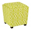 Office Star 2-Piece Ottoman Set with tray top in Abby Geo Lime Fabric