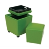 Office Star 2-Piece Green Vinyl Ottoman Set