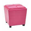 Office Star 2-Piece Pink Vinyl Ottoman Set