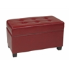 Crimson Red Faux Leather Storage Ottoman