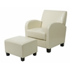 Cream Faux Leather Club Chair with Ottoman