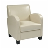 Office Star Club Chair in Cream Bonded Leather with Espresso Legs