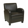 Office Star Club Chair in Espresso Bonded Leather with Espresso Legs