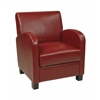 Office Star Club Chair in Crimson Red Bonded Leather with Espresso Legs