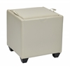 Storage Ottoman with Tray in Cream Bonded Leather