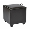 Storage Ottoman with Tray in Espresso Bonded Leather