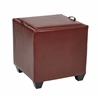 Storage Ottoman with Tray in Crimson Red Bonded Leather