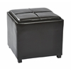 Nesting Storage Ottomans Faux Leather W/Tray Fully Assembled (Espresso )