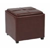 Nesting Storage Ottomans Faux Leather W/Tray Fully Assembled (Red )