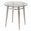 Office Star Brooklyn Clear Tempered Glass Round Top End Table with Nickel Brushed Legs