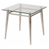Office Star Brooklyn Clear Tempered Glass Square Top End Table with Nickel Brushed Legs