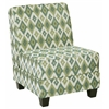 Office Star Milan Chair in Santa Fe Aqua Fabric with Dark Esspresso Legs