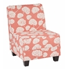 Office Star Milan Chair in Toile Stems Coral Fabric with Dark Esspresso Legs