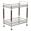 Office Star Melrose Serving Cart with Nickel Brush Metal Frame