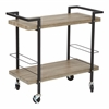 Office Star Maxwell Serving Cart in Ash Veneer Finish, Black Powder Coated Steel Frame by OSP Designs