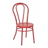 Odessa Metal Dining Chair with Backrest in Solid Red Finish - Ships Fully Assembled, 2-Pack