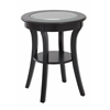 Harper Round Accent Table with Glass top and Brushed Black wood Finish, Ships Fully Assembled.