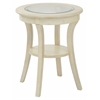 Harper Round Accent Table with Glass top and Antique White wood Finish, Ships Fully Assembled.