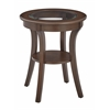 Harper Round Accent Table with Glass top and Macchiato wood Finish, Ships Fully Assembled.