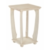 Office Star Mila Square Accent Table in Antique White Wood Finish, Ships Fully Assembled.