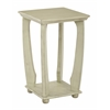 Mila Square Accent Table in Antiique Celadon Wood Finish, Ships Fully Assembled.