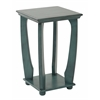 Office Star Mila Square Accent Table in Caribbean Blue Wood Finish, Ships Fully Assembled.