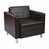 Office Star Pacific Easy-Care Espresso Faux Leather Armchair with Box Spring Seat & Silver Color Legs by Ave Six