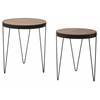 Pasadena Nesting Accent Tables Set with Rustic calico wood top and Matte Black metal frame ( 2-Pack )