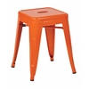 "Patterson 18"" Metal Backless Stool in Orange Solid Finish, Fully Assembled, 4-Pack"