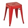 "Office Star Patterson 18"" Metal Backless Stool in Red Solid Finish, Fully Assembled, 2-Pack"