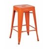 "Office Star Patterson 24"" Steel Backless Barstool in Orange Solid Finish, Fully Assembled, 2-Pack"