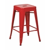 "24"" Steel Backless Barstool (4-Pack) (Red)"