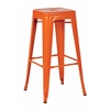 "Office Star Patterson 30"" Steel Backless Barstool in Orange Solid Finish, Fully Assembled, 4-Pack"