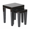 Reflections Nesting Tables with Black Glass Finish- Assembled