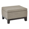 Office Star Regent Upholstered Storage Ottoman with Reversible Tray in in Milford Dolphin Fabric with Dark Expresso Legs