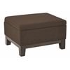 Office Star Regent Upholstered Storage Ottoman with Reversible Tray in Milford Java Fabric with Dark Expresso Legs