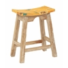 "24"" Saddle Stool with White Wash Base and Rustic Yellow Seat"