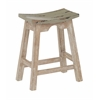"24"" Saddle Stool with White Wash Base and Rustic Grey Seat"