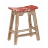 "24"" Saddle Stool with White Wash Base and Rustic Red Seat"