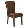 Savanna Tufted and Rolled Back Armless Chocolate Brown Chair with Contrast white Piping and Solid Wood Espresso Legs (2-Pack)