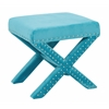 Office Star Katie Bench in Teal Micro Velvet with Silver Nail heads
