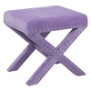 Office Star Katie Bench in Lavender Micro Velvet with Silver Nail heads