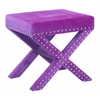 Office Star Katie Bench in Purple Micro Velvet with Silver Nail heads