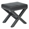 Office Star Katie Bench in Black Faux Leather with Silver Nail heads