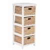 Office Star Seabrook Four-Tier Storage Unit With White Finish and Natural Baskets